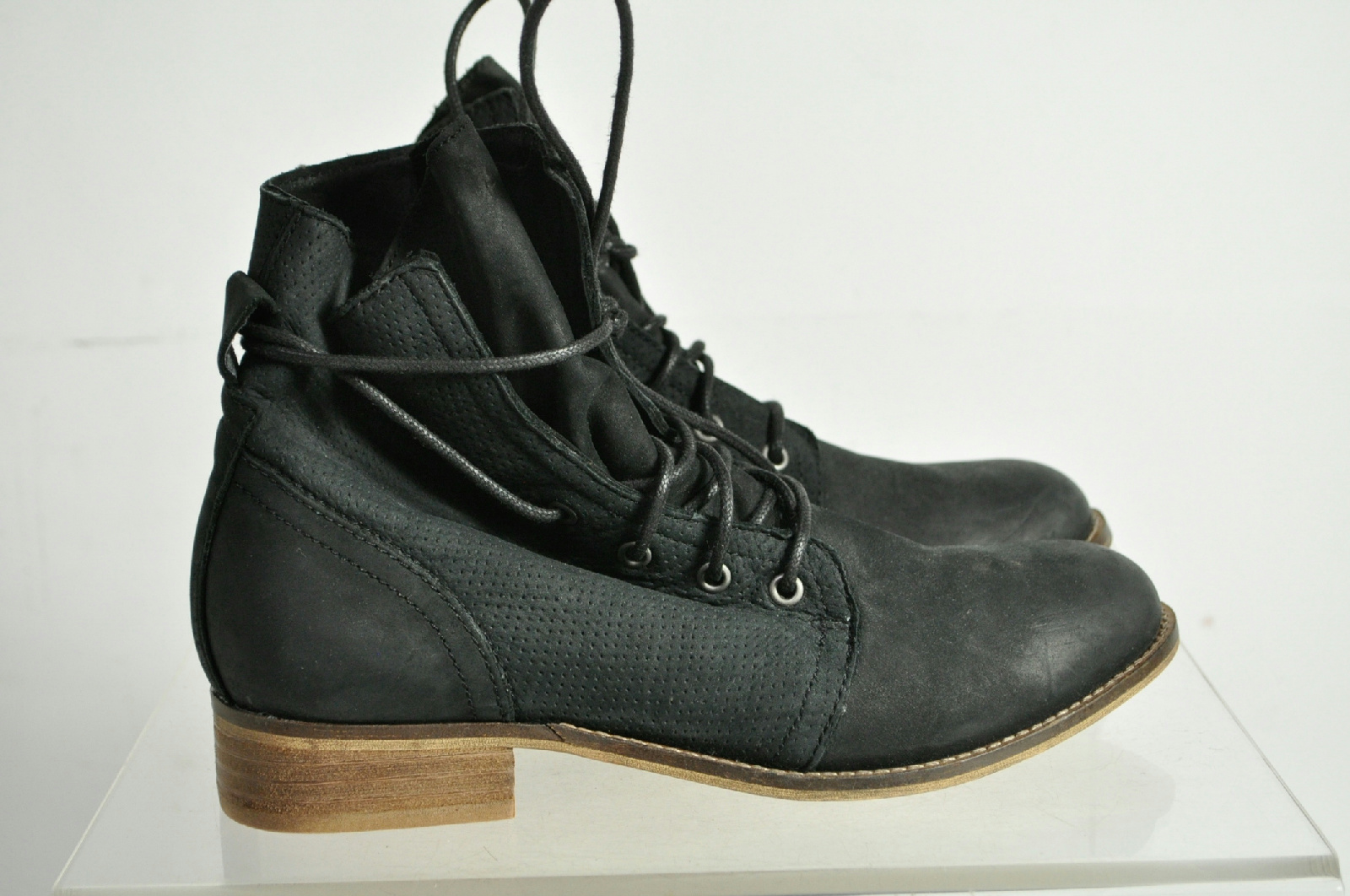 aldo black suede laced ankle boots size 8 5 ebay
