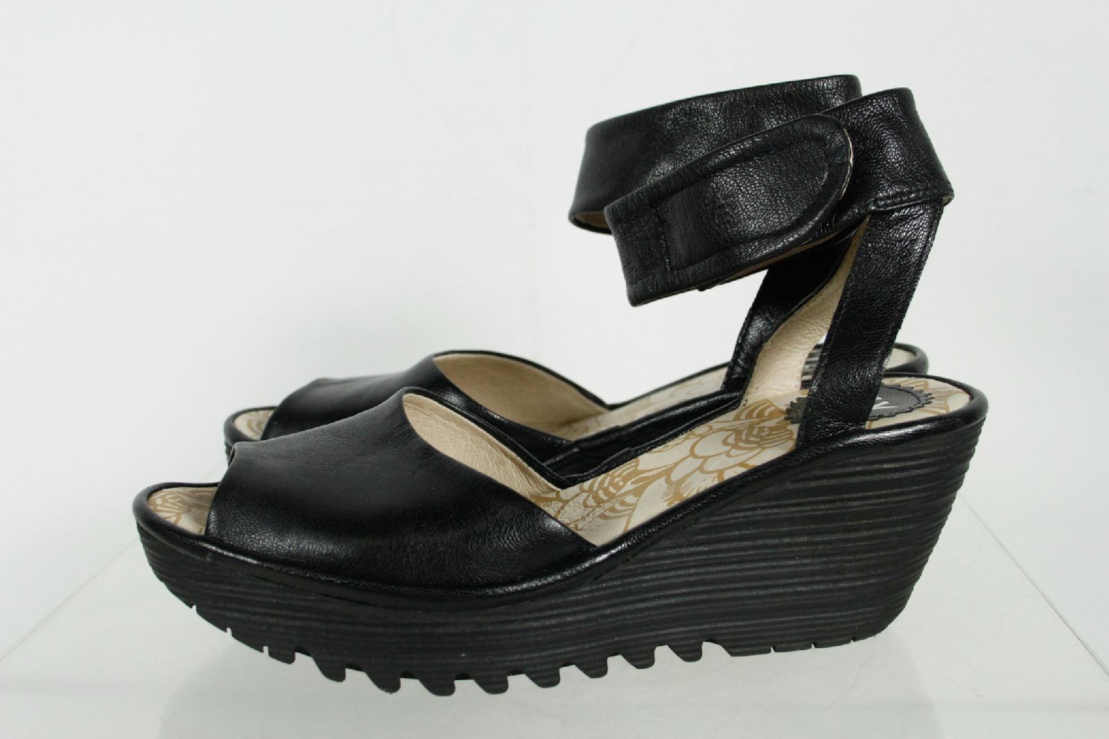 Fly London Black Wedge Ankle Strap Sandals Size 37 | eBay