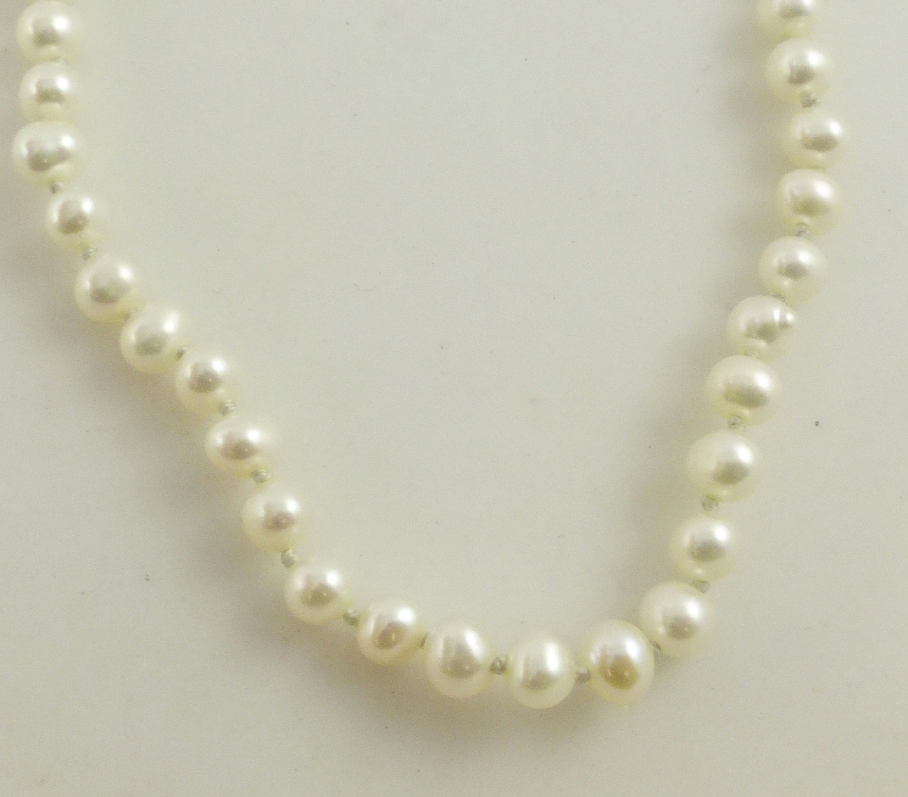 String Pearl Necklace: Sterling Silver White Cultured Pearl Beaded Strand String