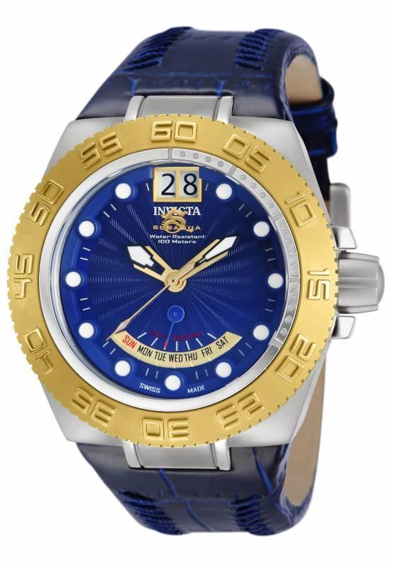 invicta 10877 blue subaqua sport swiss made day big date