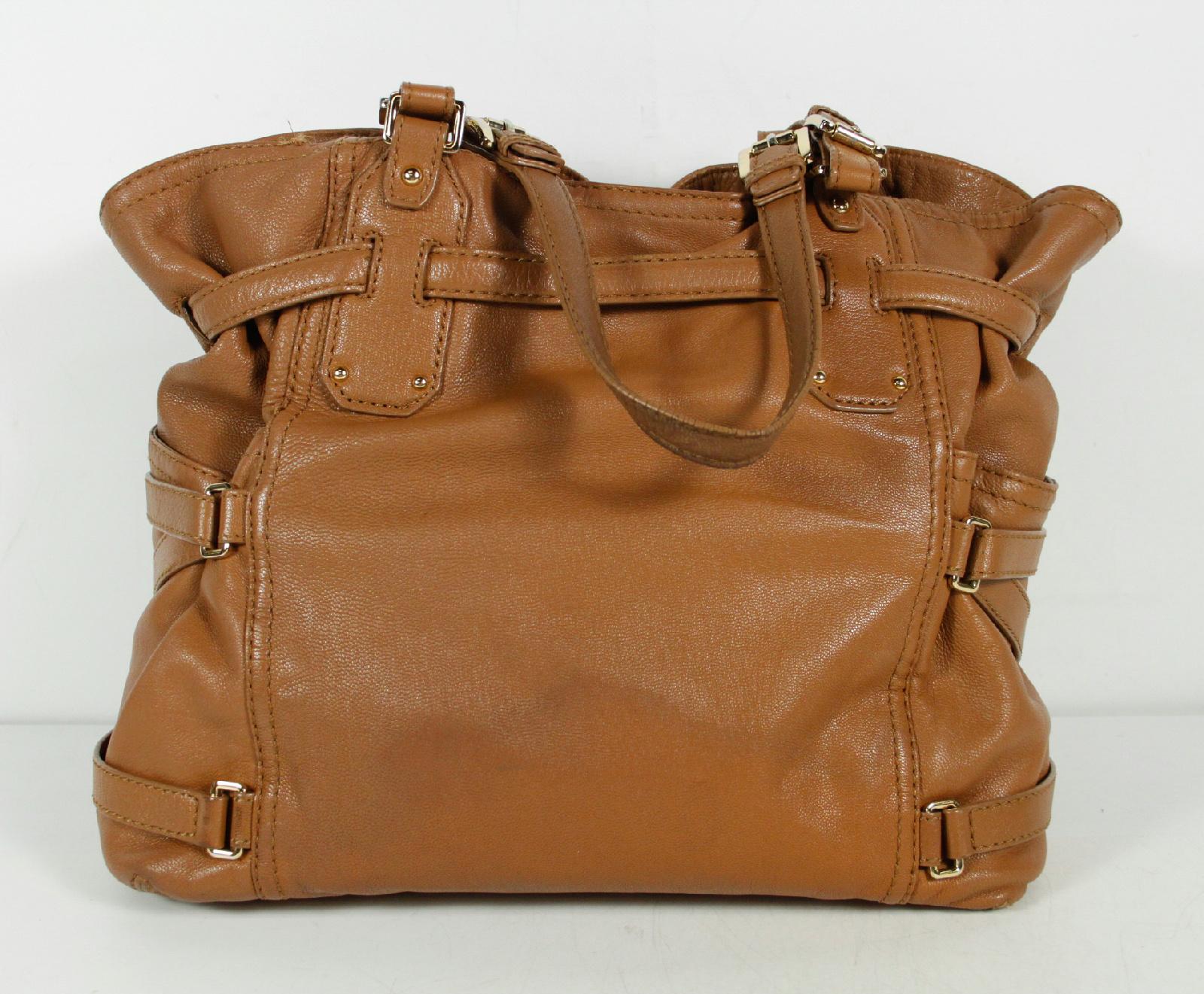 Michael Kors Brown Leather Gold Tone Hardware Buckle Drawstring Satchel Bag Ebay