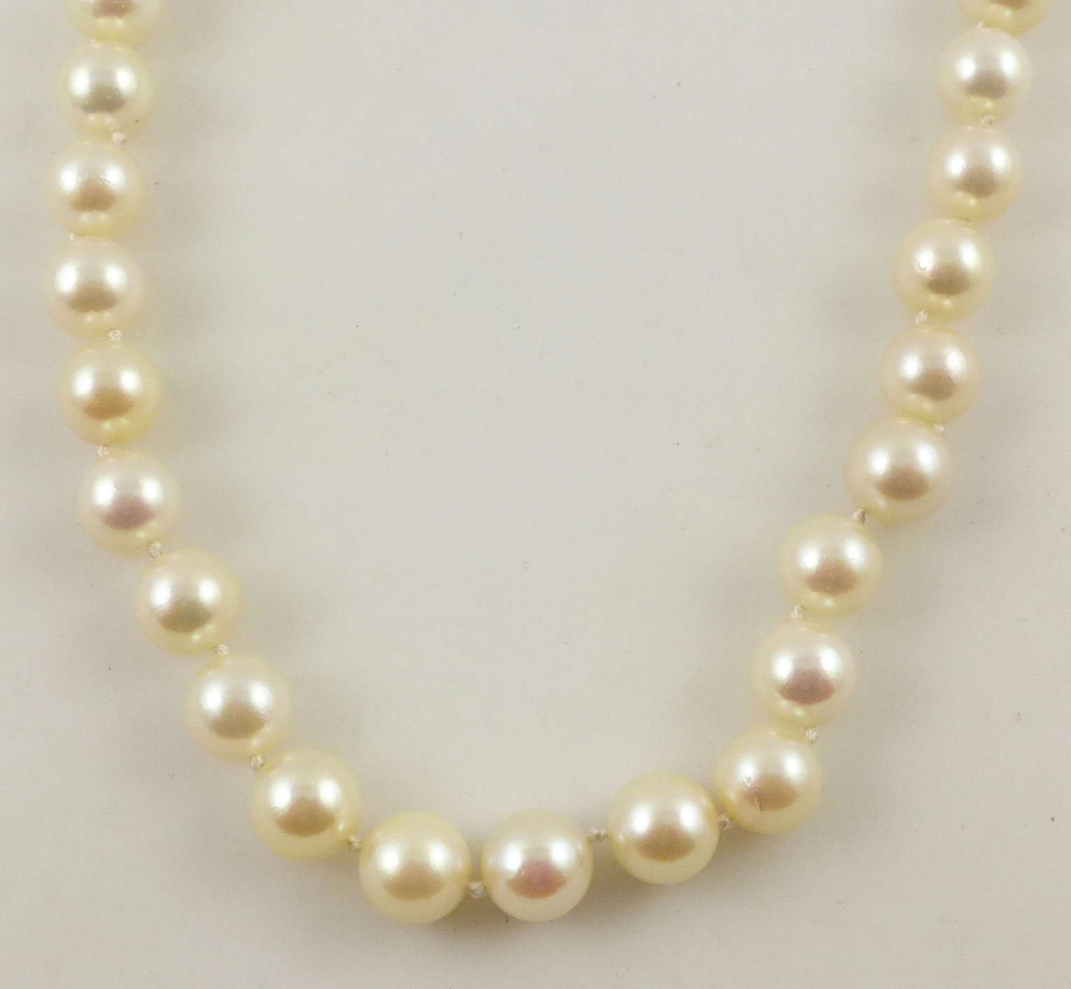 String Pearl Necklace: 14K Yellow Gold White Cultured Pearl Beaded Strand String