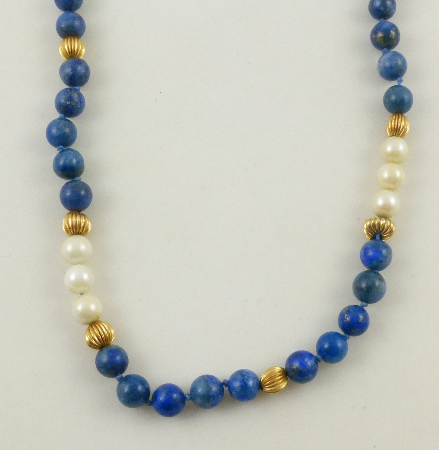 String Pearl Necklace: 14k Yellow Gold Blue Lapis White Faux Pearl Beaded Strand