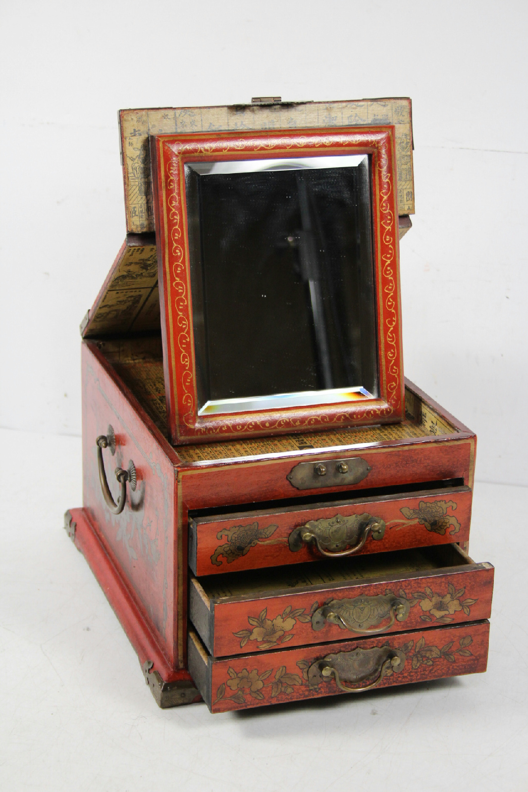Red lacquer asian wooden jewelry box with stand up mirror for Mirror jewelry box