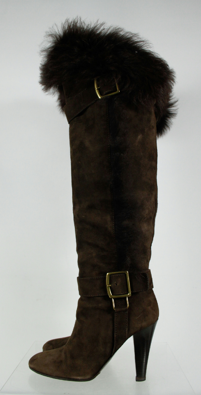 coach brown faux fur trim gold buckle accents thigh high