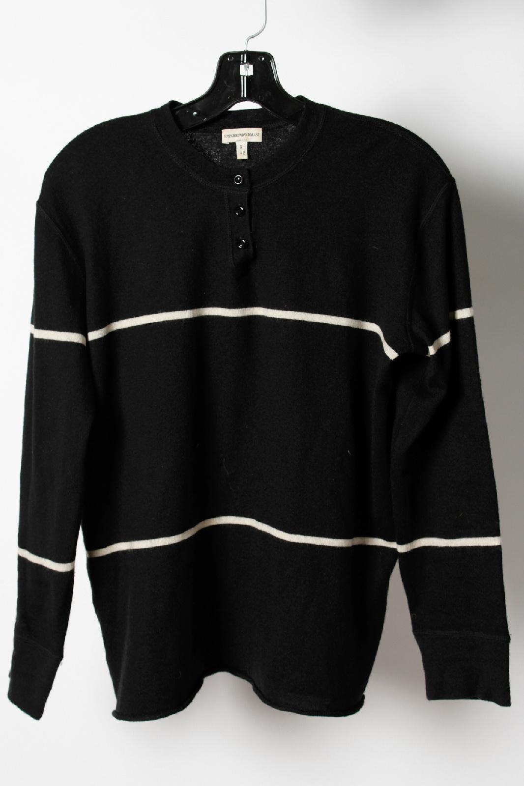emporio armani black white stripe crew neck pullover. Black Bedroom Furniture Sets. Home Design Ideas