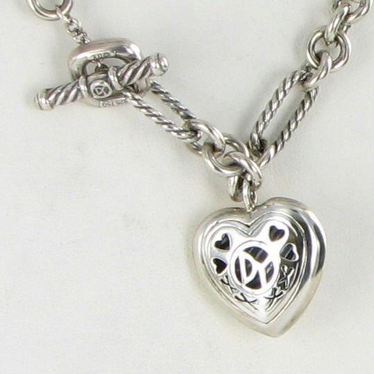 David Yurman Necklace Cable Heart Figaro Chain 18k Yellow