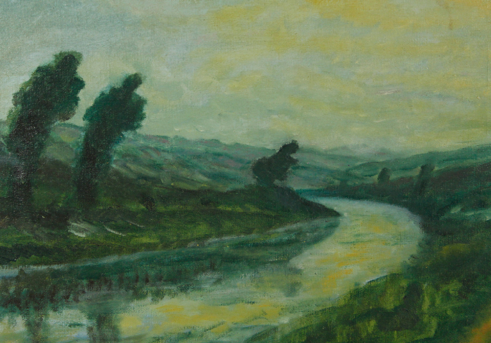 Vintage Landscape River Banks Oil Painting Ebay
