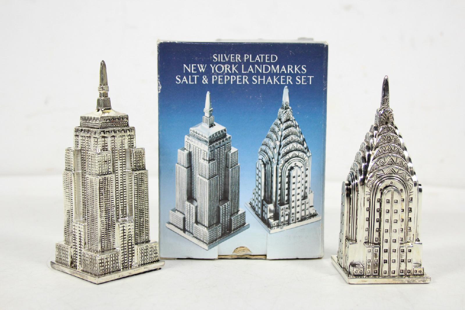 Godinger new york landmarks empire state chrysler salt and for New york landmarks