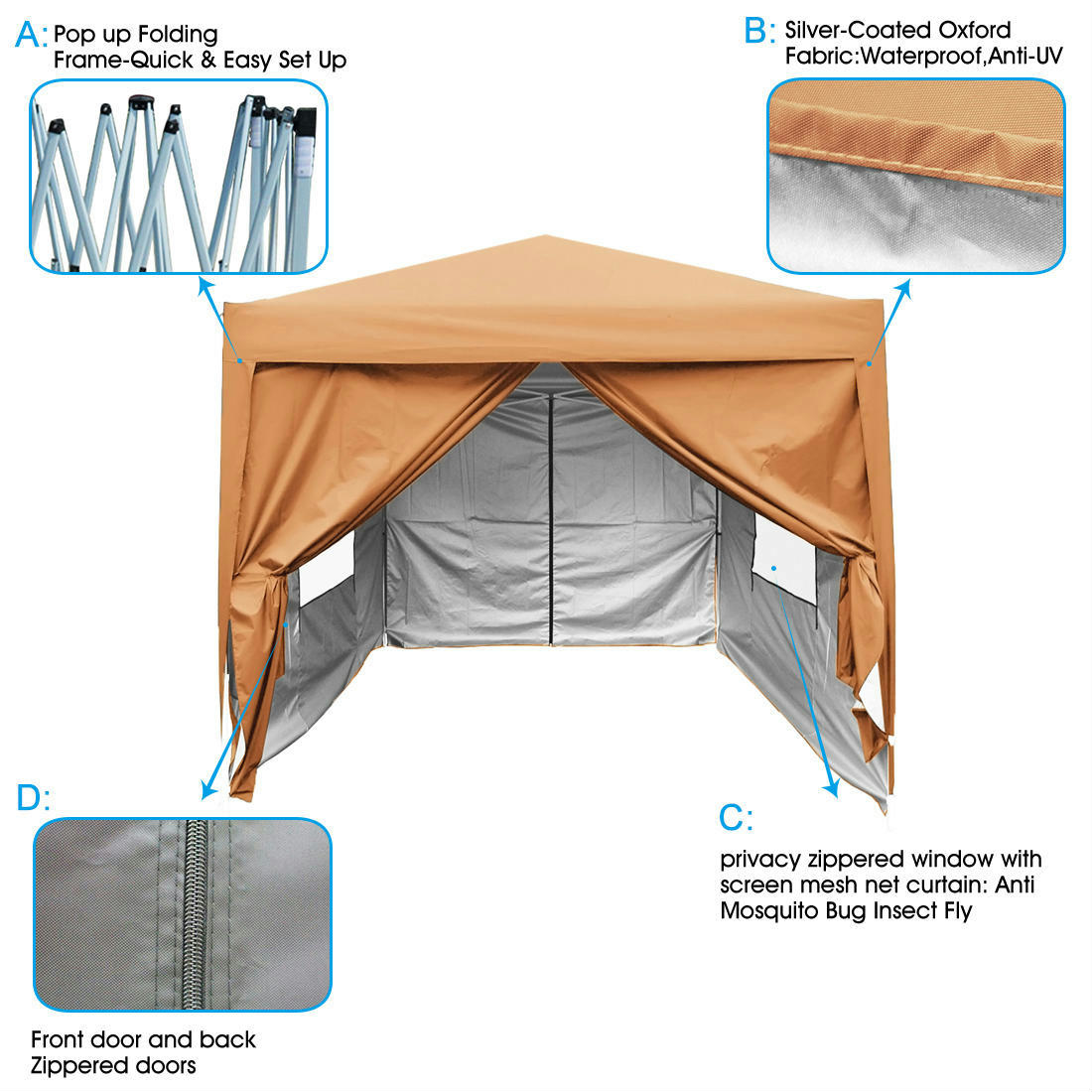 Quictent-Privacy-8x8-ft-Screen-EZ-Pop-Up-  sc 1 st  eBay & Quictent Privacy® 8x8 ft Screen EZ Pop Up Party Tent Canopy Gazebo ...