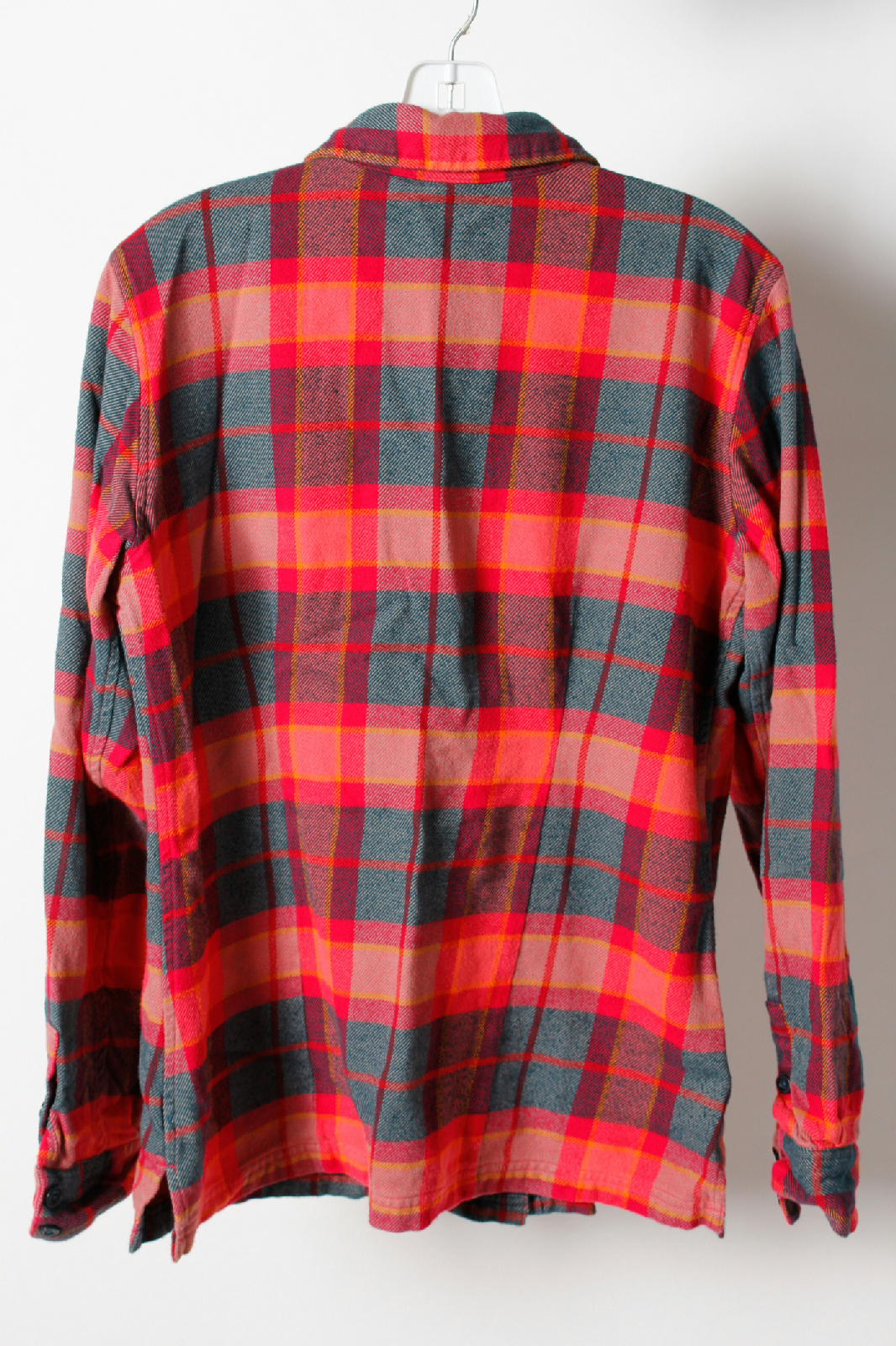 patagonia red blue 100 organic cotton plaid flannel casual shirt size 10 ebay. Black Bedroom Furniture Sets. Home Design Ideas
