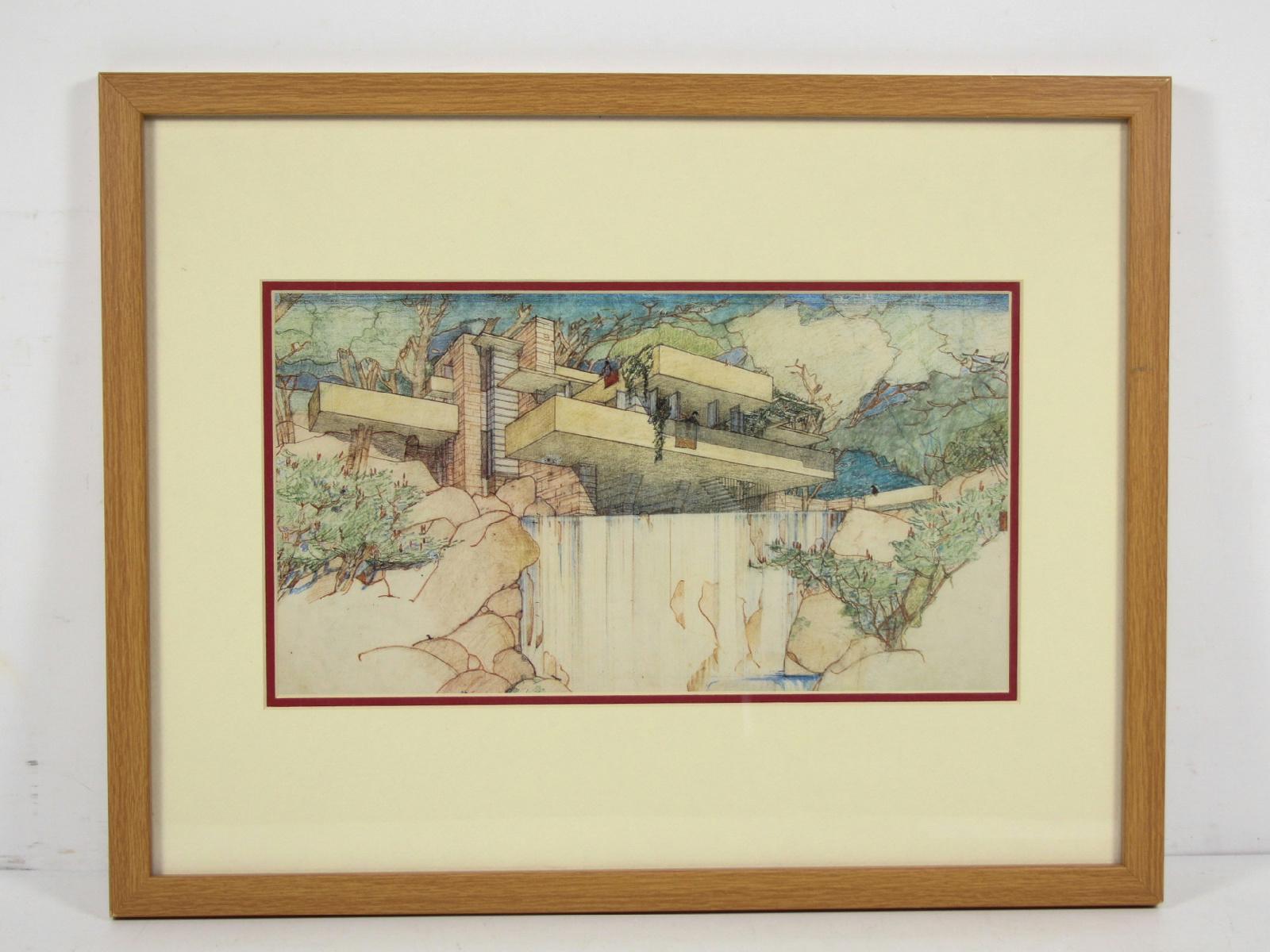 Vintage Fallingwater Print Frank Lloyd Wright Ebay