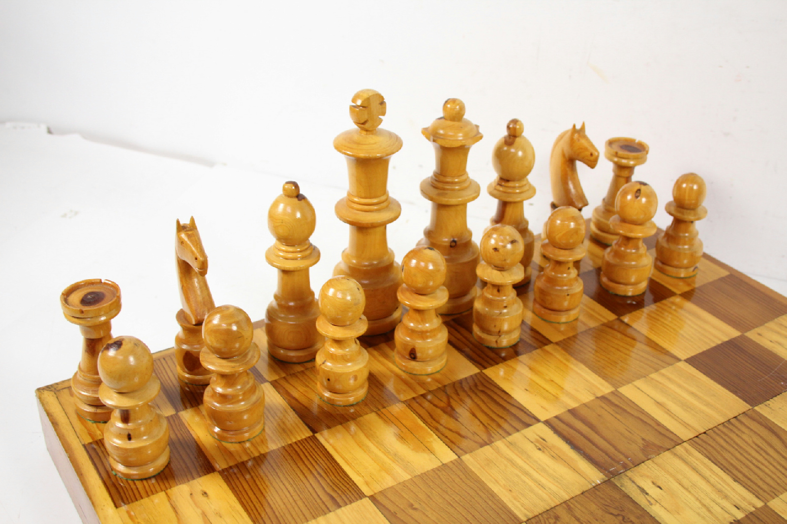 Large Heavy Wooden Chess Set Tall Pieces Foldable Board