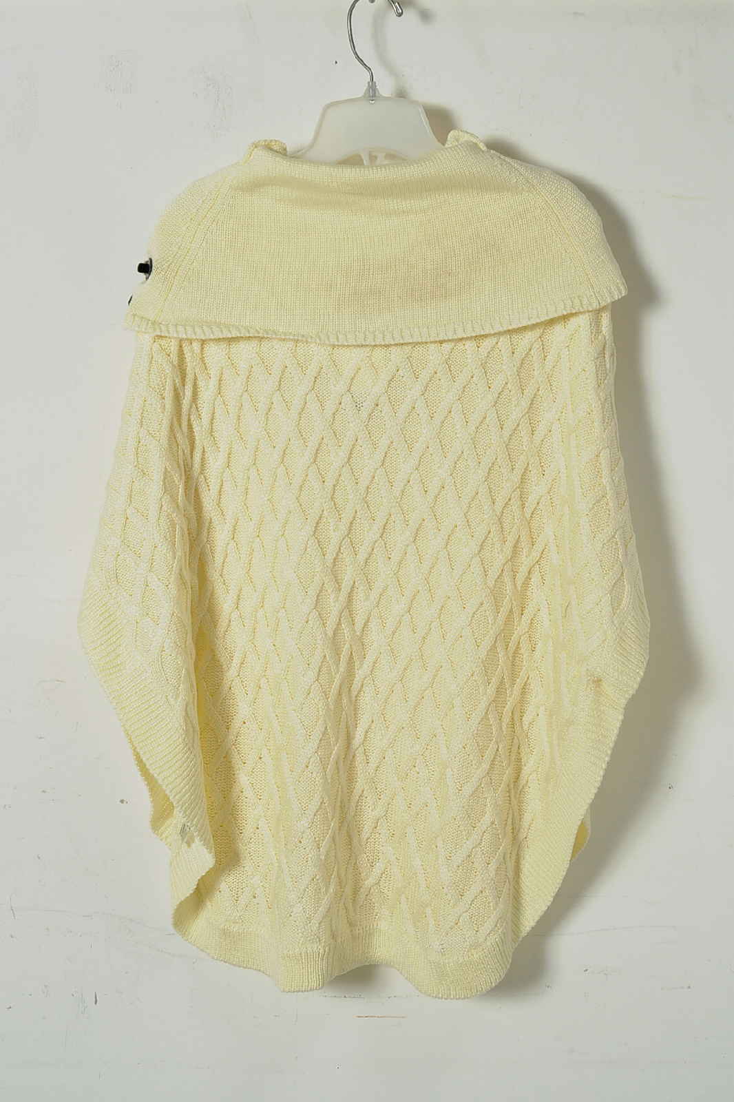 Cowl Neck Poncho Knitting Pattern : NWT Ivory Basket Knit Cowl Neck Poncho Sweater Size S/M eBay
