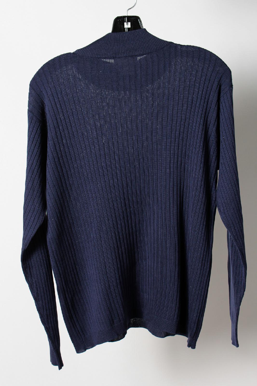 Talbots navy blue silk long sleeve ribbed mock turtleneck for Ribbed long sleeve shirt