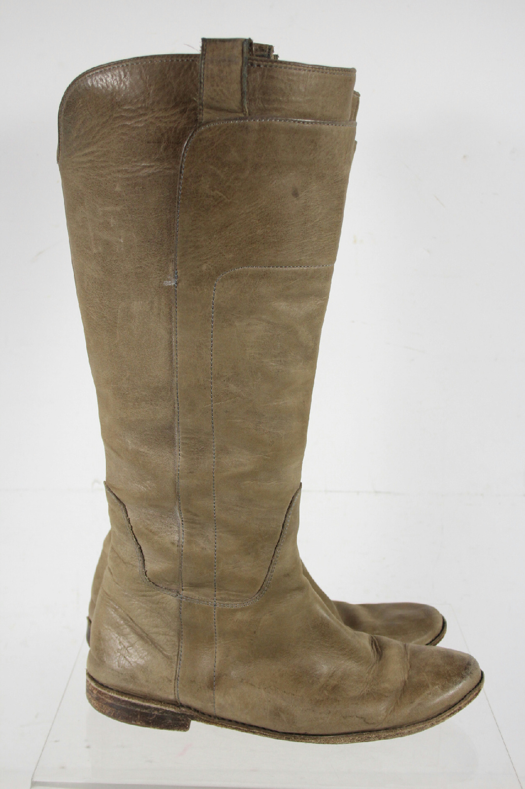 frye beige leather pull on knee high boots size 9b