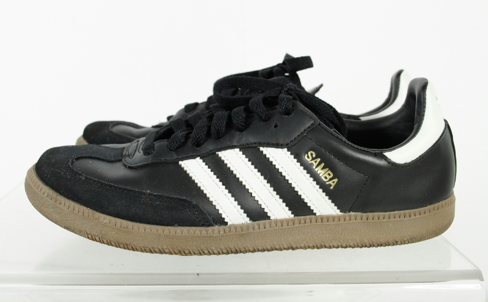 adidas samba black 3 stripes lace low cut casual sneakers