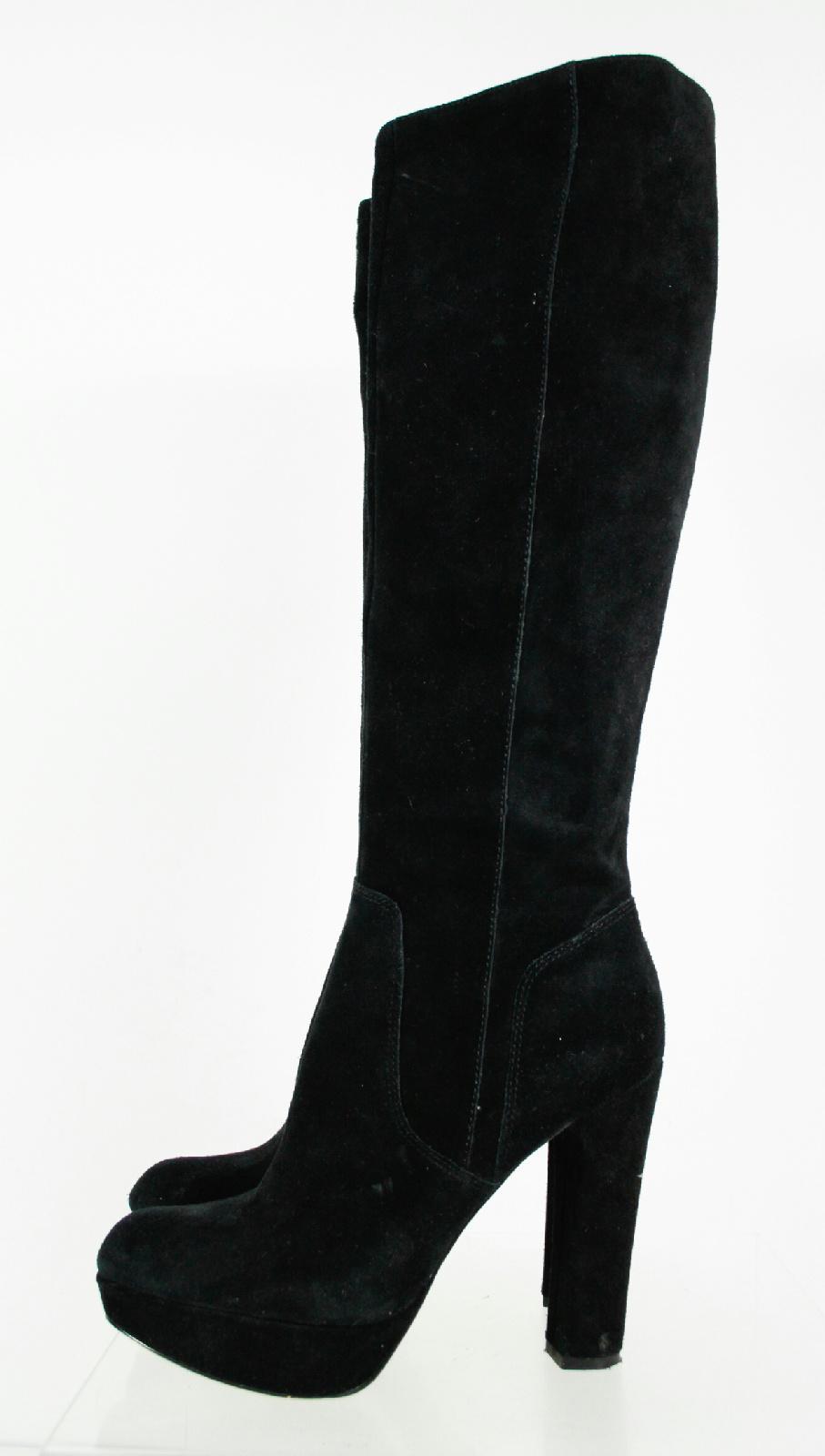 Michael By Michael Kors Solid Black Block Heel Knee High ...