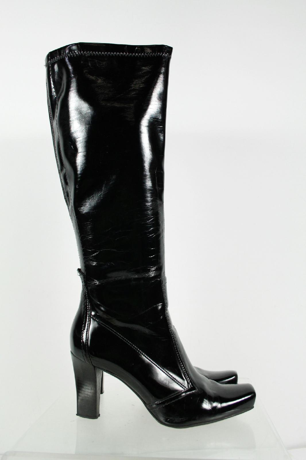 franco sarto black patent leather square toe block heel