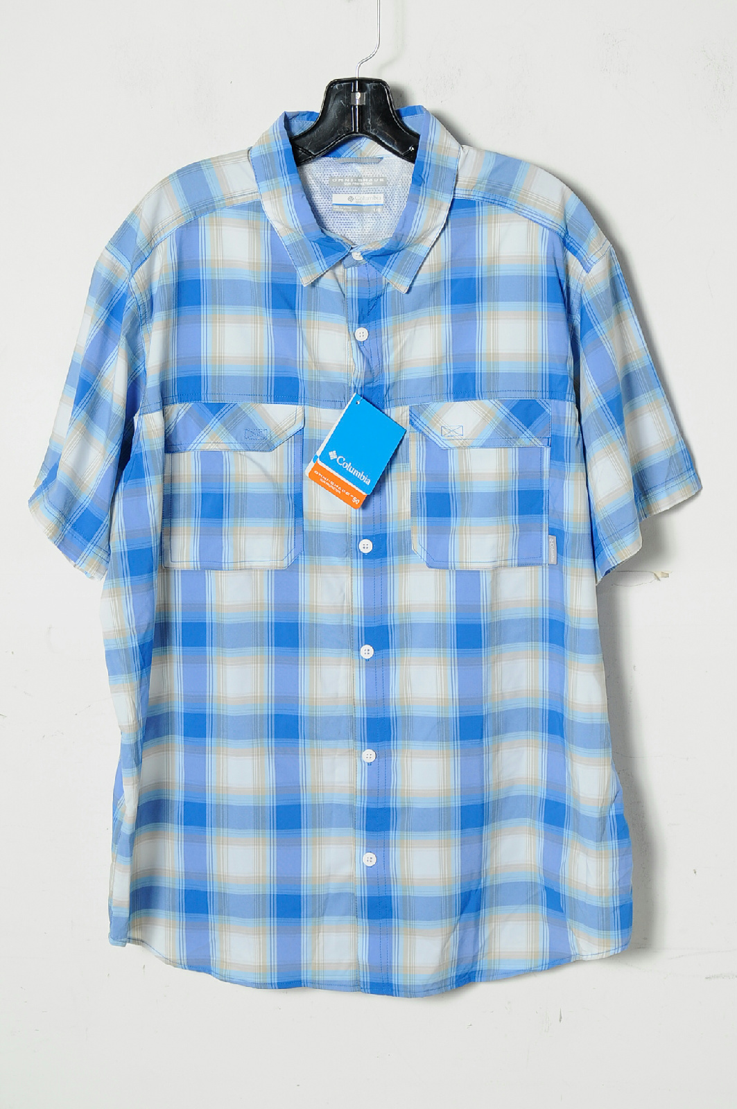 Nwt Columbia Multi Color Plaid Short Sleeve Button Down