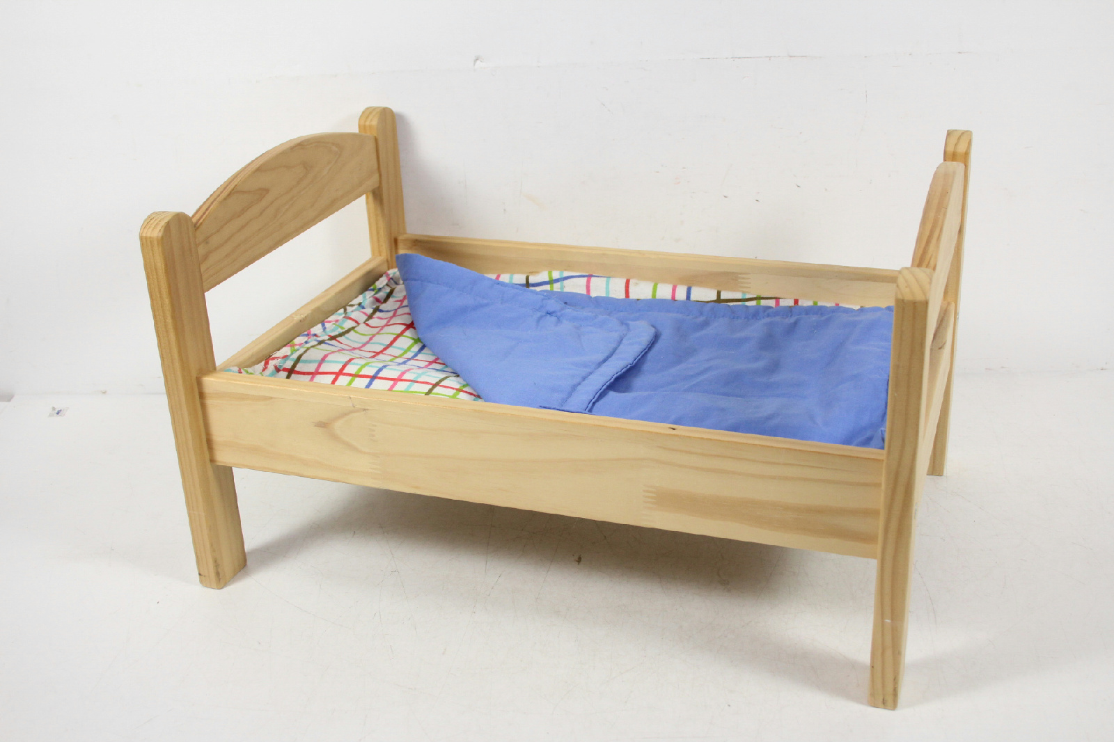 Ikea wood wooden doll toy bed with linen kitty american for Ikea wooden bunk beds