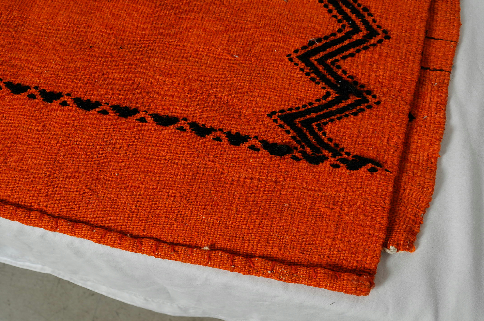 Southwestern Hand Knotted Woven Orange Wool Blend Area Rug