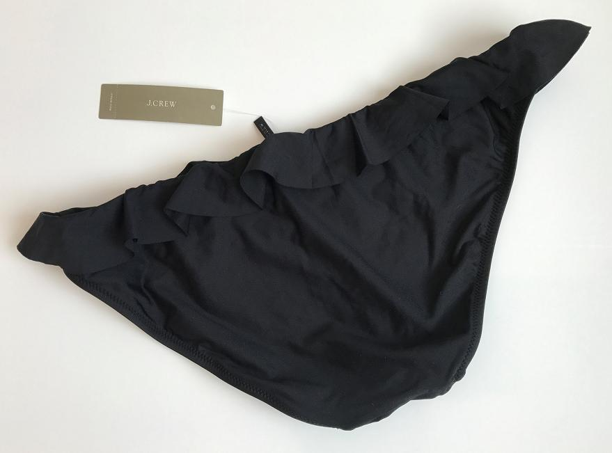 NWT J Crew Ruffle Hipster Bikini Bottom in BLACK Sz Medium G1724