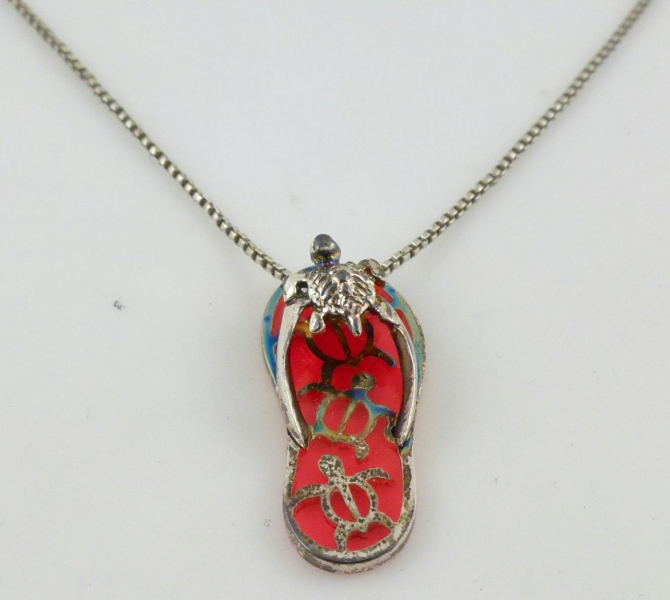 sterling silve sea turtle pink glass flip flop pendant. Black Bedroom Furniture Sets. Home Design Ideas