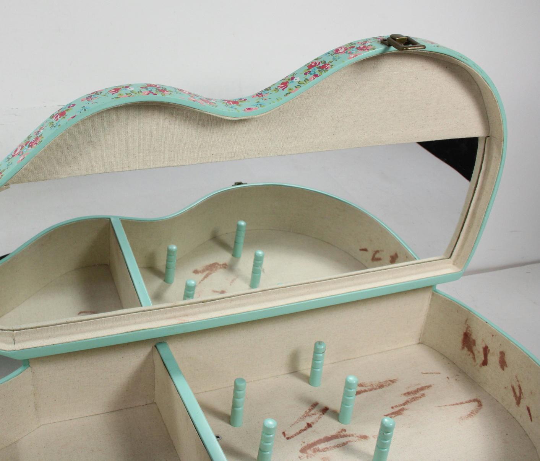 Decorative Wall Mirror Jewelry Organizer : Wall mount decor guitar shaped jewelry storage organizer