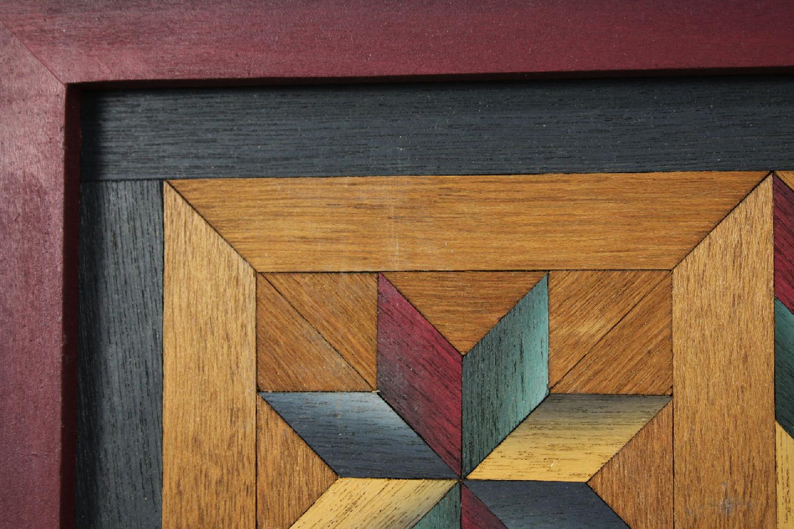 Vintage Folk Art Inlay Star Pattern Wood Quilt Parquetry