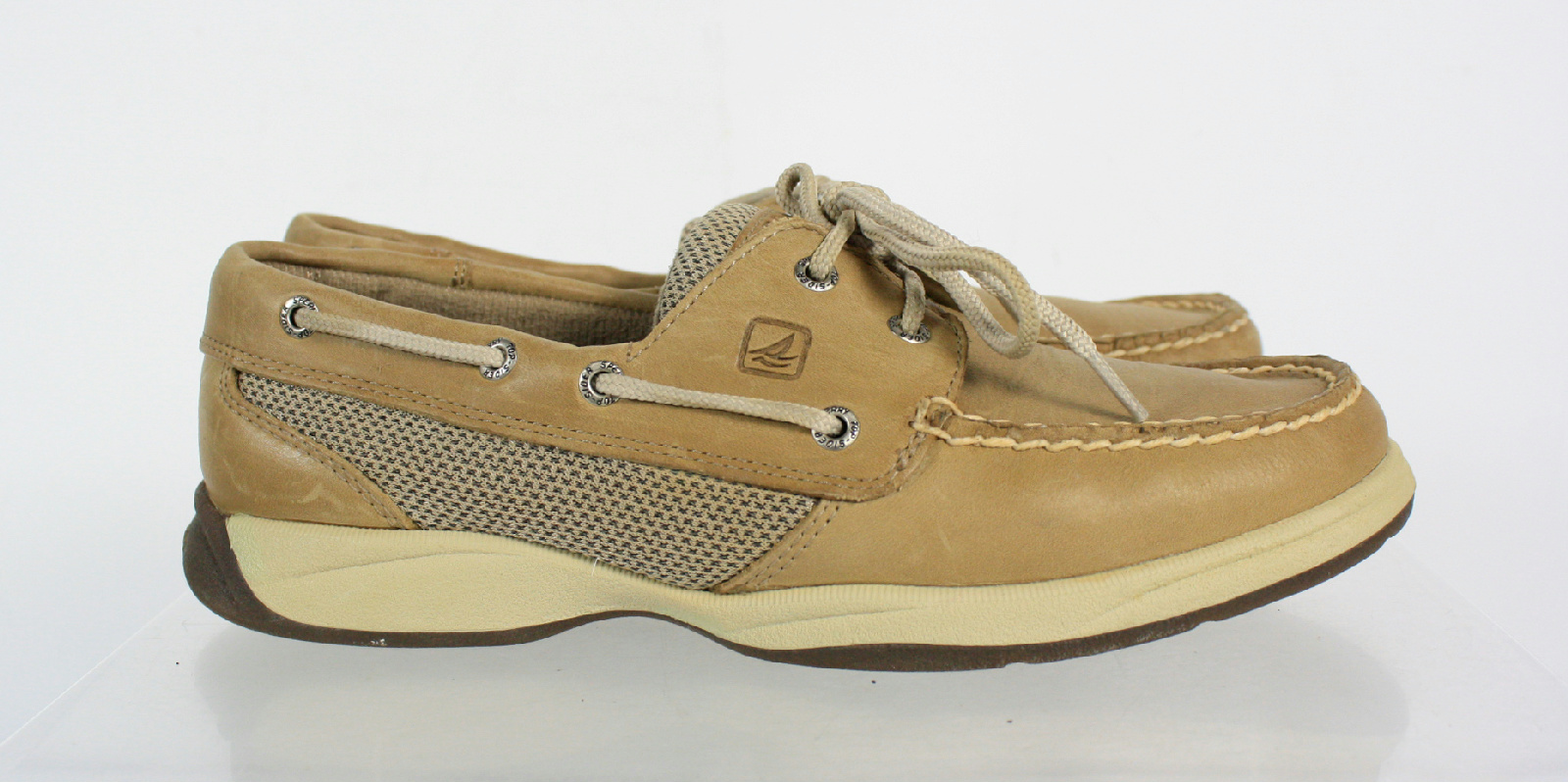 Sperry Tan Leather Lace Up Boat Shoes Size 7.5M   eBay