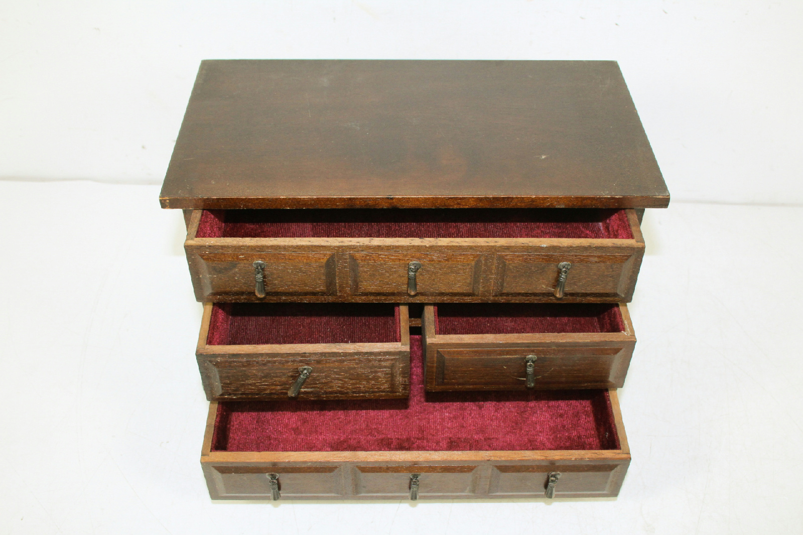 Vintage wood wooden jewelry trinket organizer storage box
