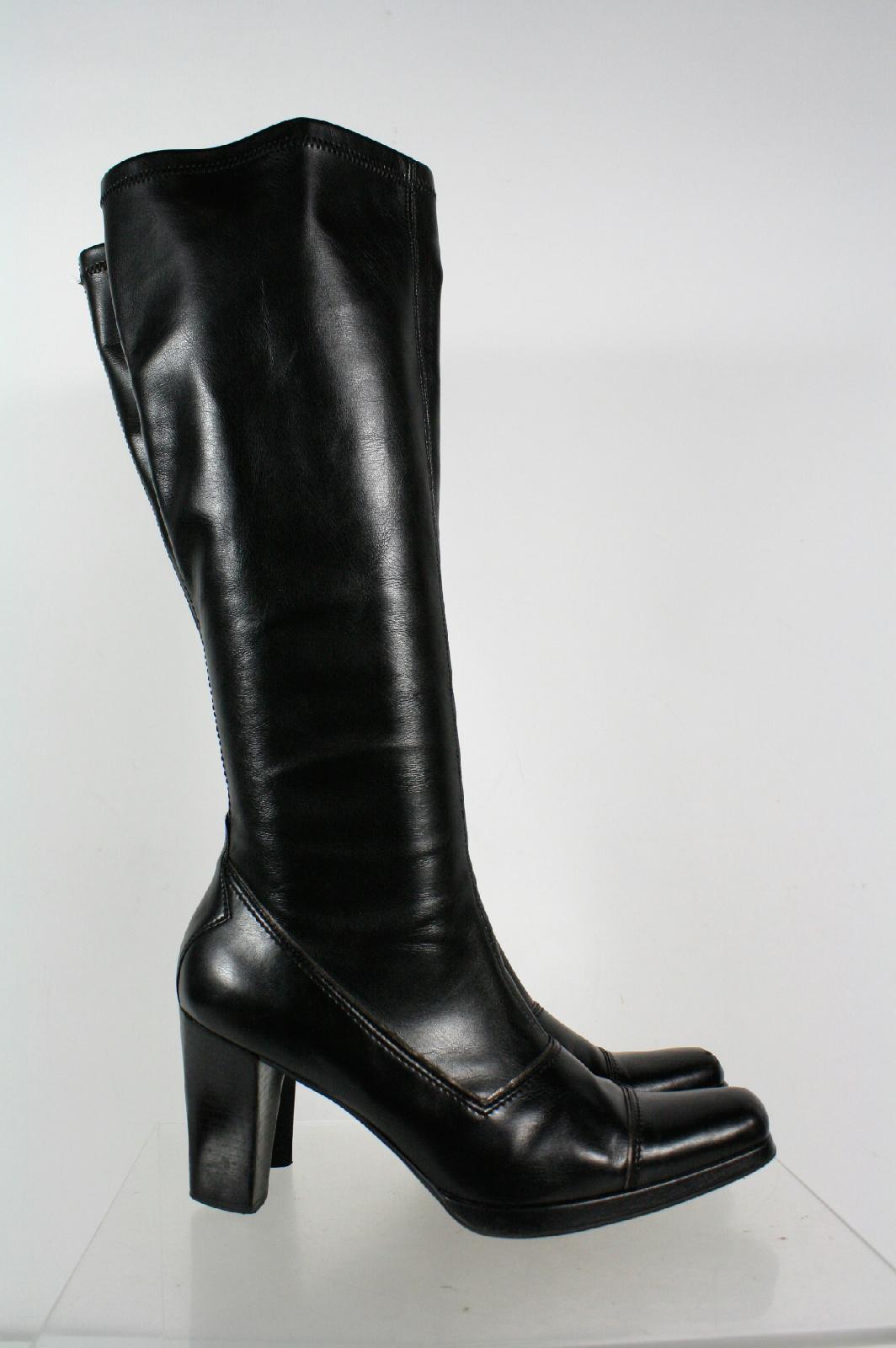 franco sarto black square toe heel slip on knee high boots