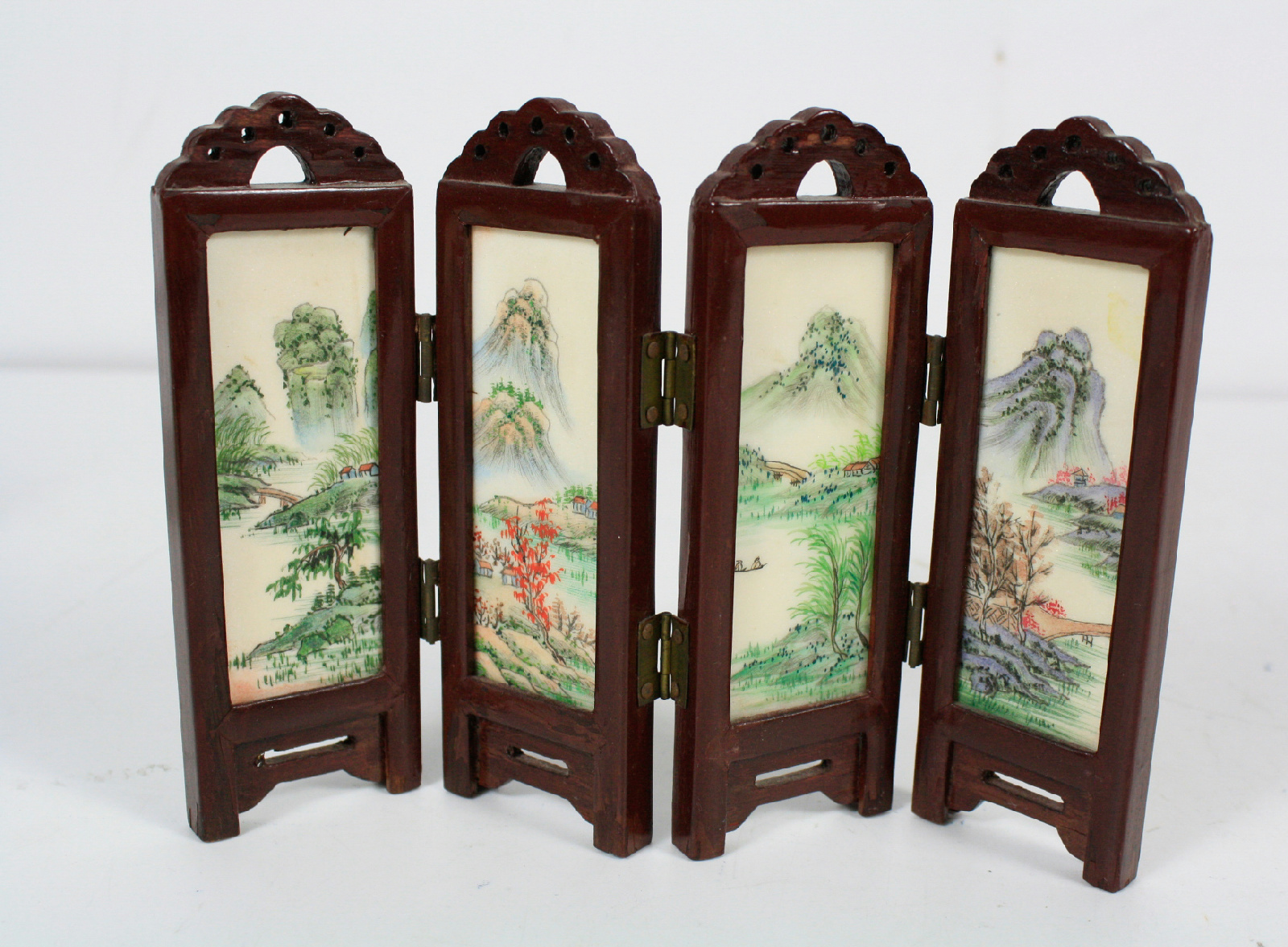 Best Oriental Wood Screens ~ Table top wood folding screen asian geisha room divider