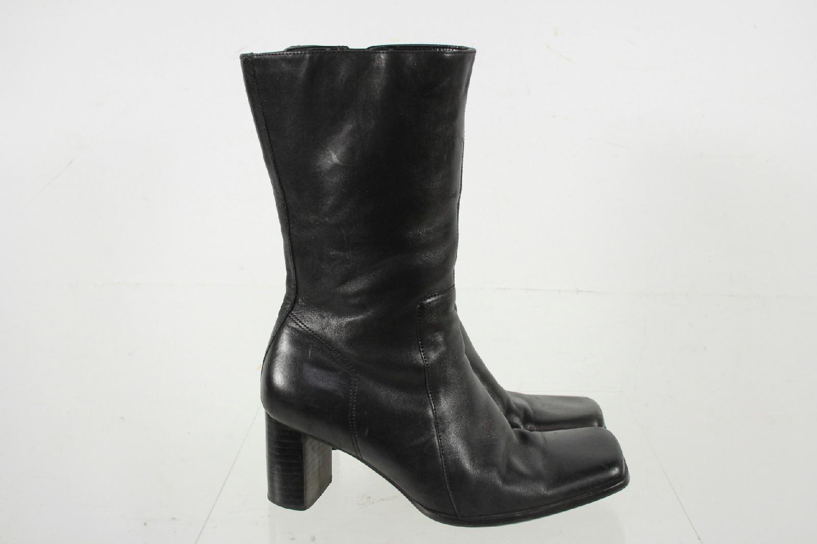 nine west black leather square toe block heel zip mid calf