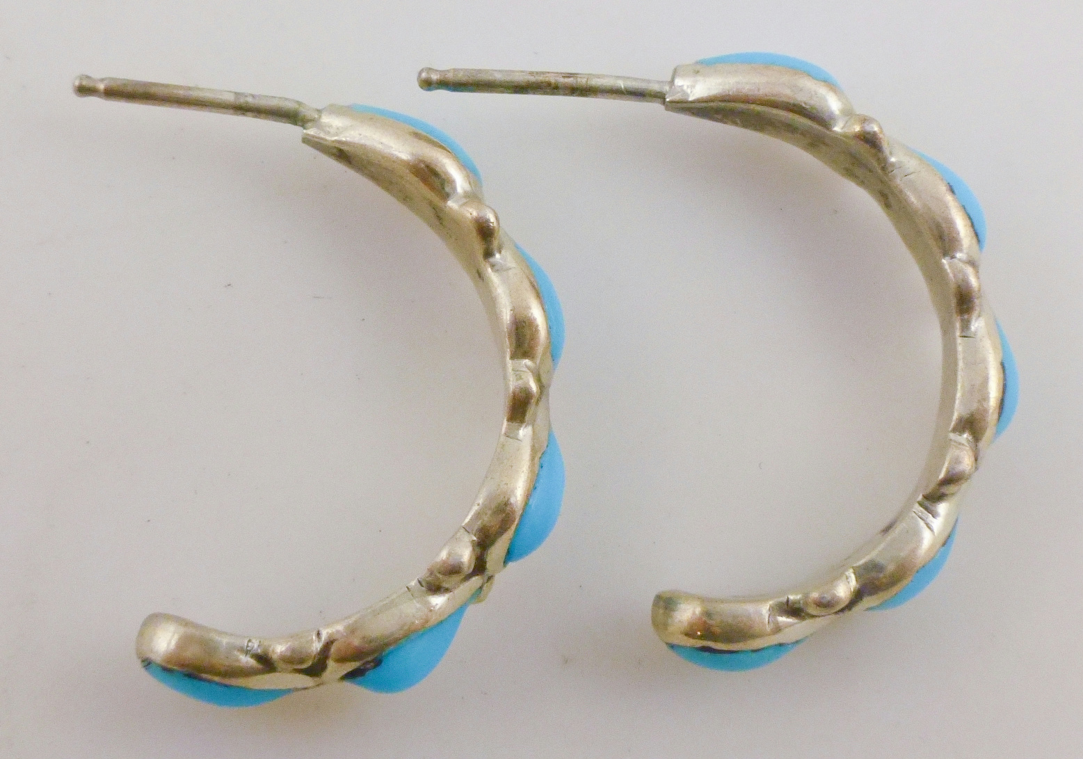 925 Sterling Silver Blue Tuquoise Half Hoop Earrings