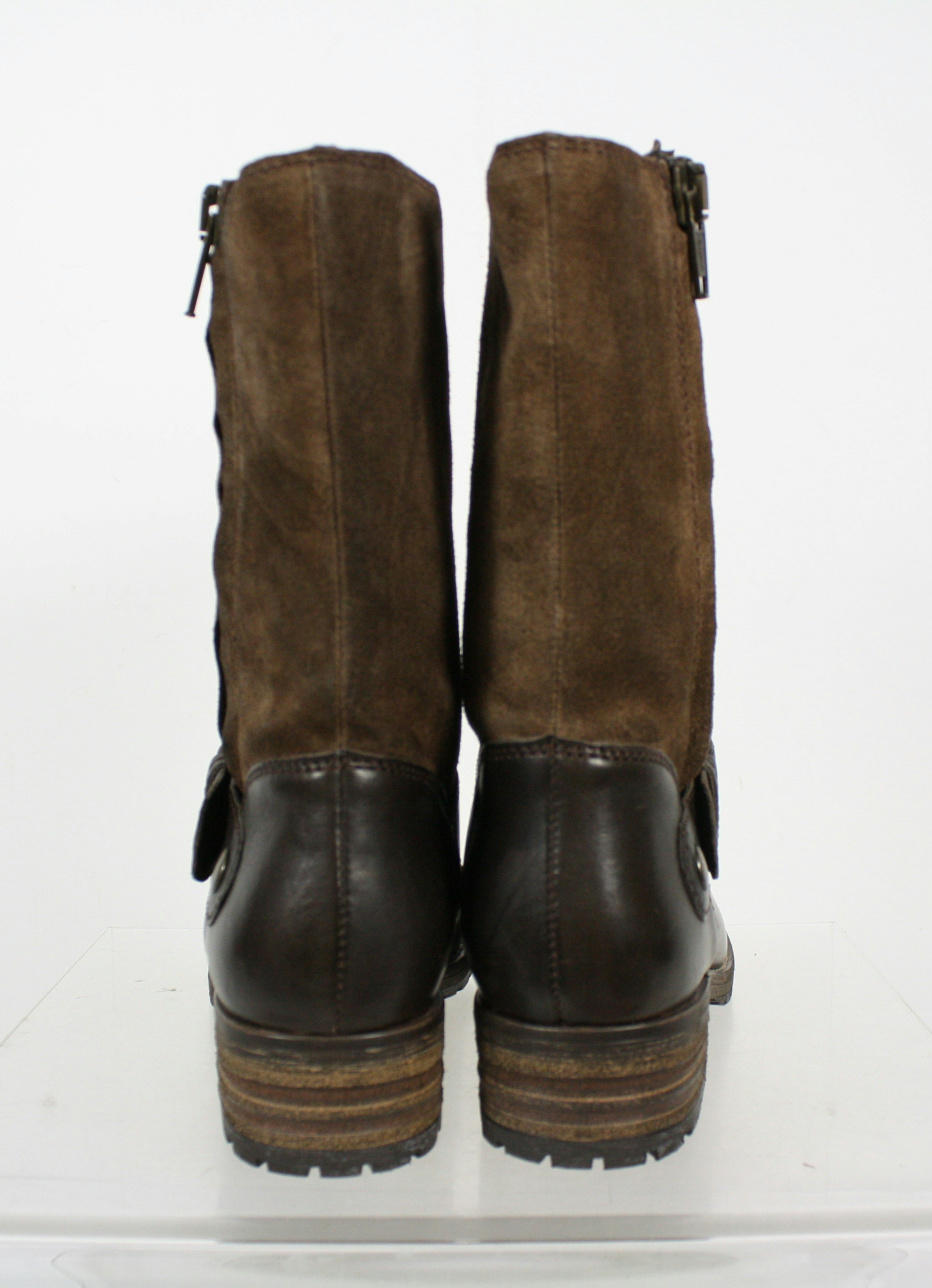 clarks brown two tone side zip mid calf boots size 7m ebay. Black Bedroom Furniture Sets. Home Design Ideas