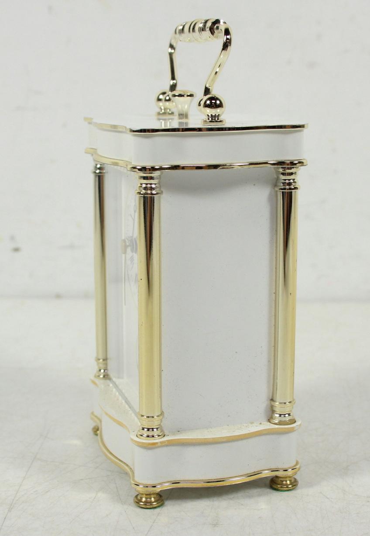 vintage west german bulova tempus fugit white gold tone desk clock ebay. Black Bedroom Furniture Sets. Home Design Ideas