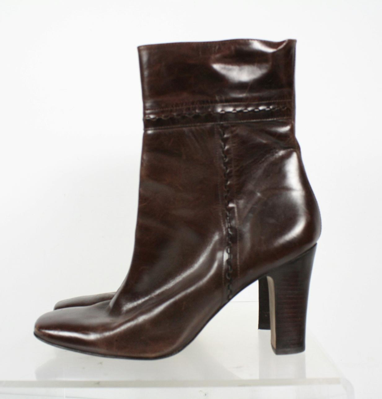 arturo chiang brown leather side zip block heels