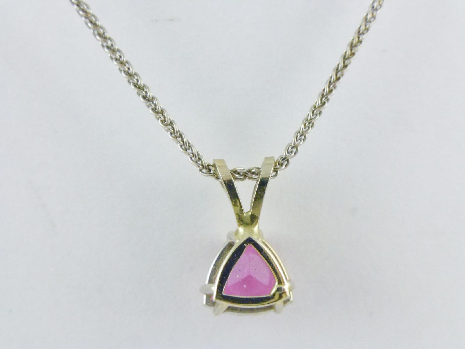 14k white gold pink triangle cut tourmaline pendant wheat. Black Bedroom Furniture Sets. Home Design Ideas