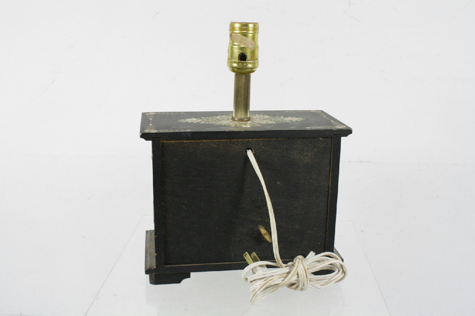 vintage night stand cabinet style music box table lamp. Black Bedroom Furniture Sets. Home Design Ideas