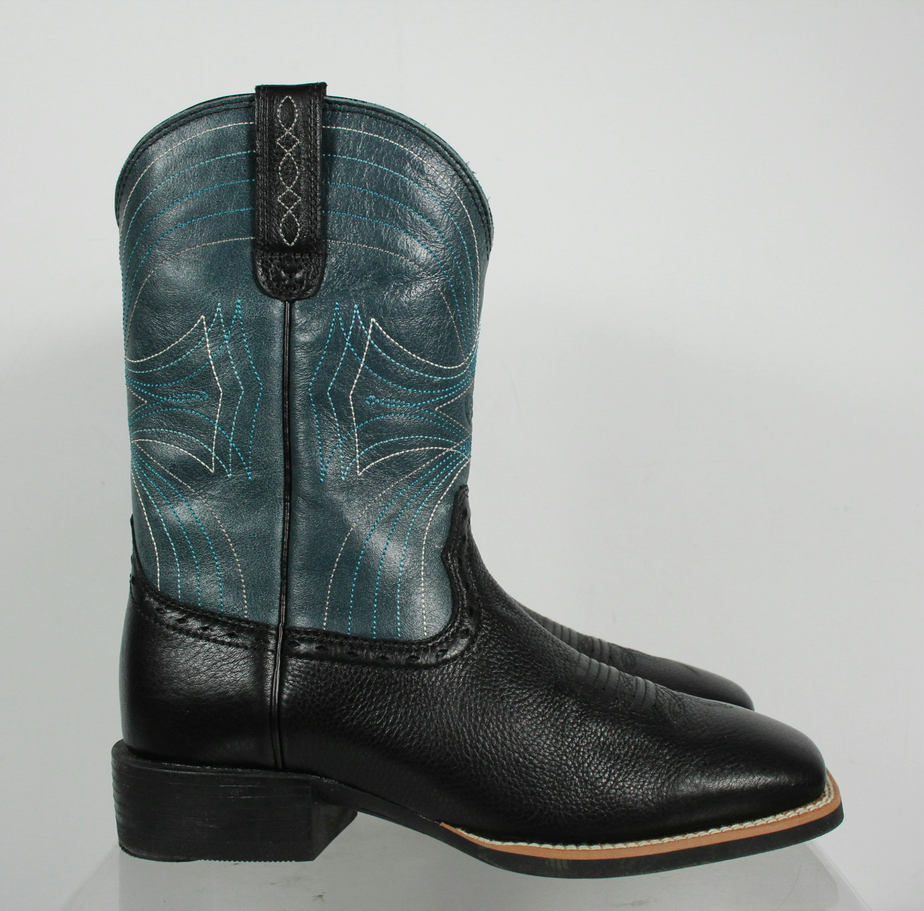 ariat black blue leather square toe slip on cowboy boots