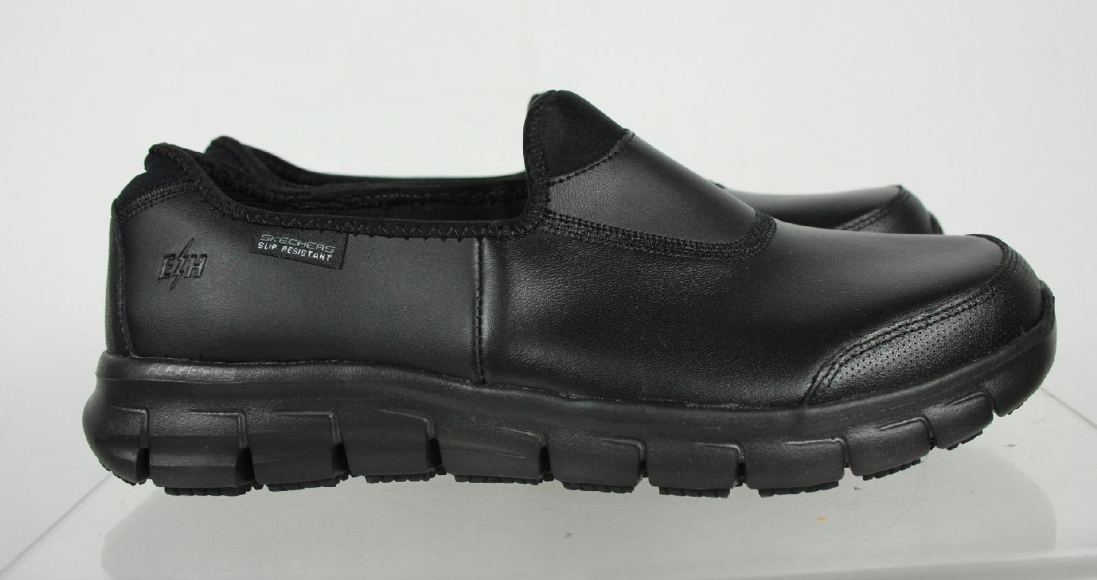 skechers black leather memory foam slip resistant work