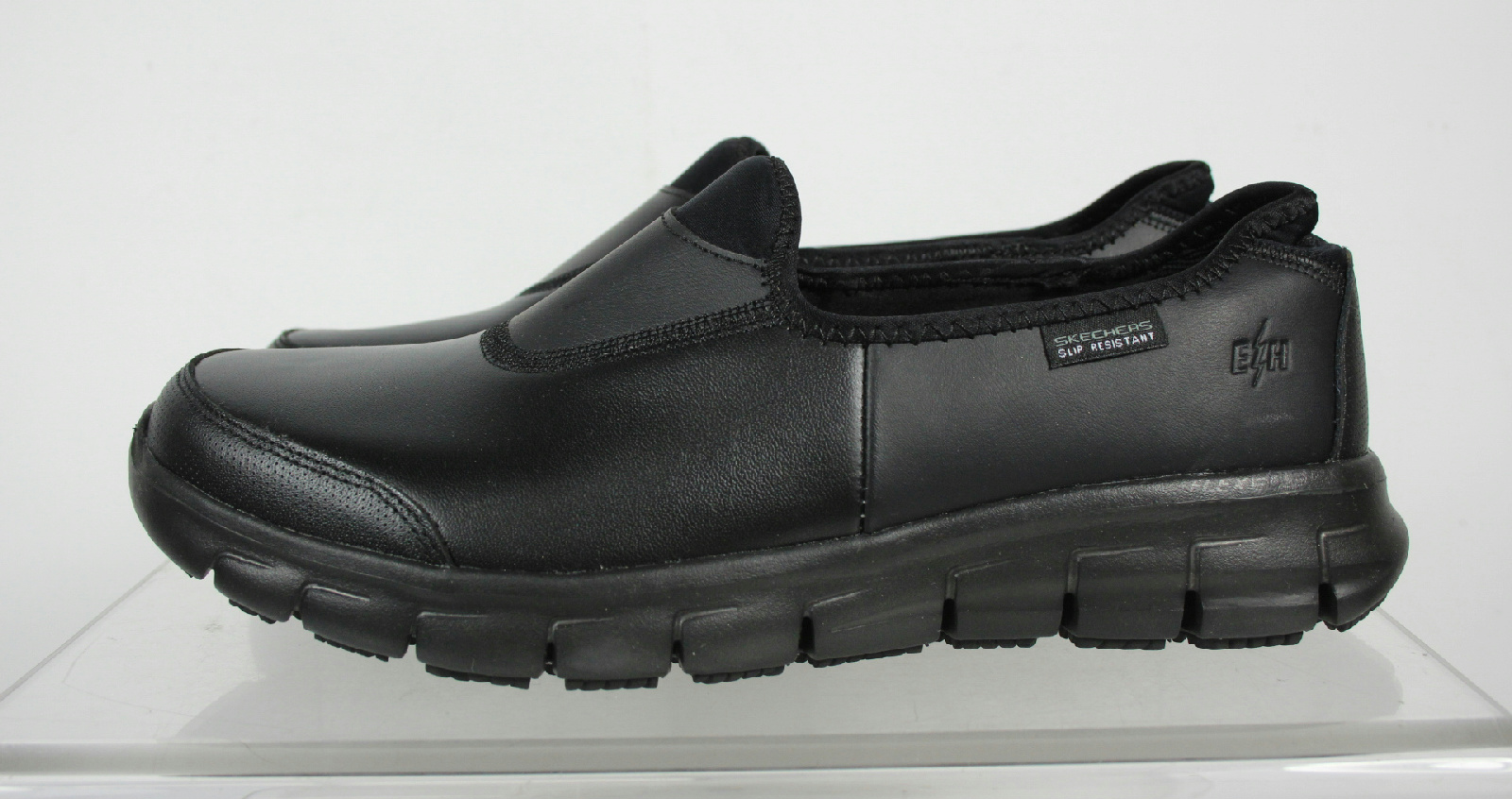 skechers black leather memory foam slip resistant work