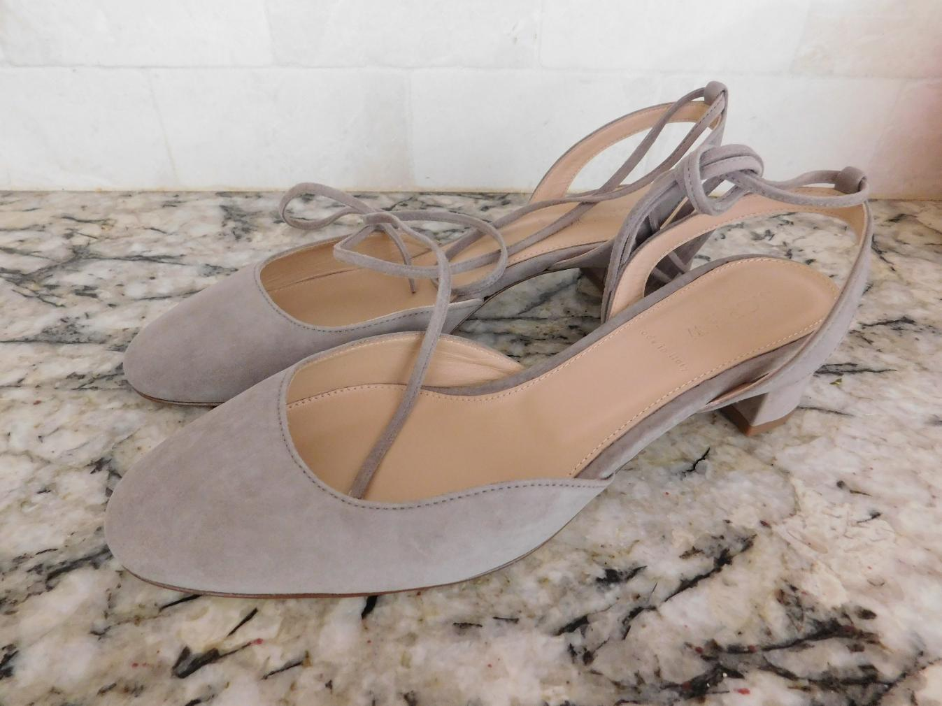 JCrew-178-Ankle-Wrap-Slingback-Heels-in-Suede-G4095-8-5-Antique-Dove-Grey-NEW thumbnail 2