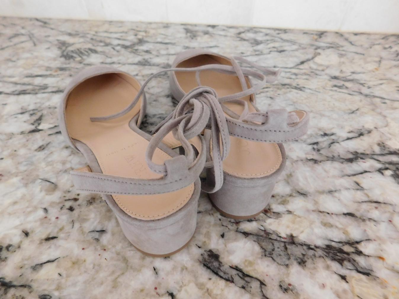 JCrew-178-Ankle-Wrap-Slingback-Heels-in-Suede-G4095-8-5-Antique-Dove-Grey-NEW thumbnail 3