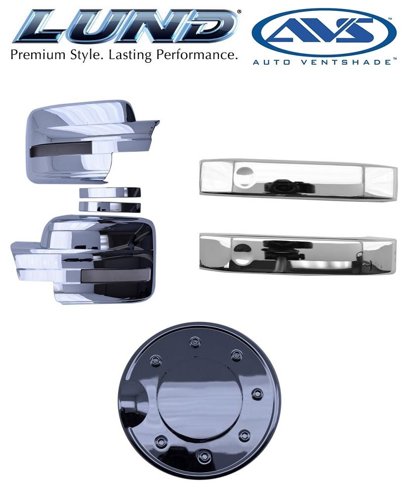 Fuel Door /& Mirror Covers *NEW* Lund AVS Combo Kit Ford Chrome Door Handle