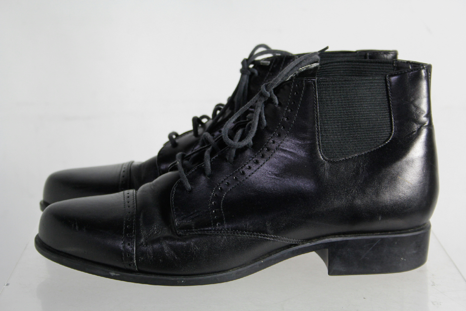 ariat black leather cap toe laces casual boots size 9 ebay