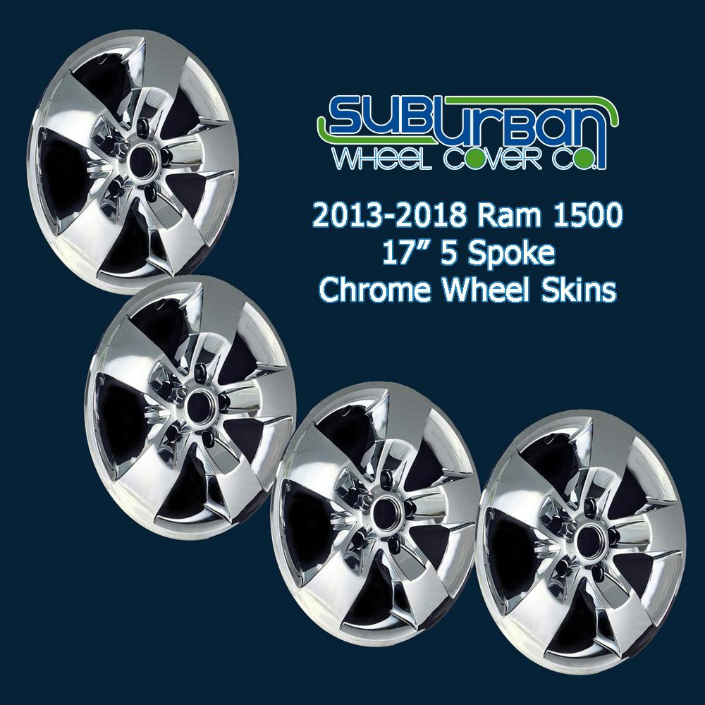 """New Set of 4 17/"""" Chrome Wheel Skins for 2013-2015 Dodge Ram 1500 17/"""" Alloy Wheel"""