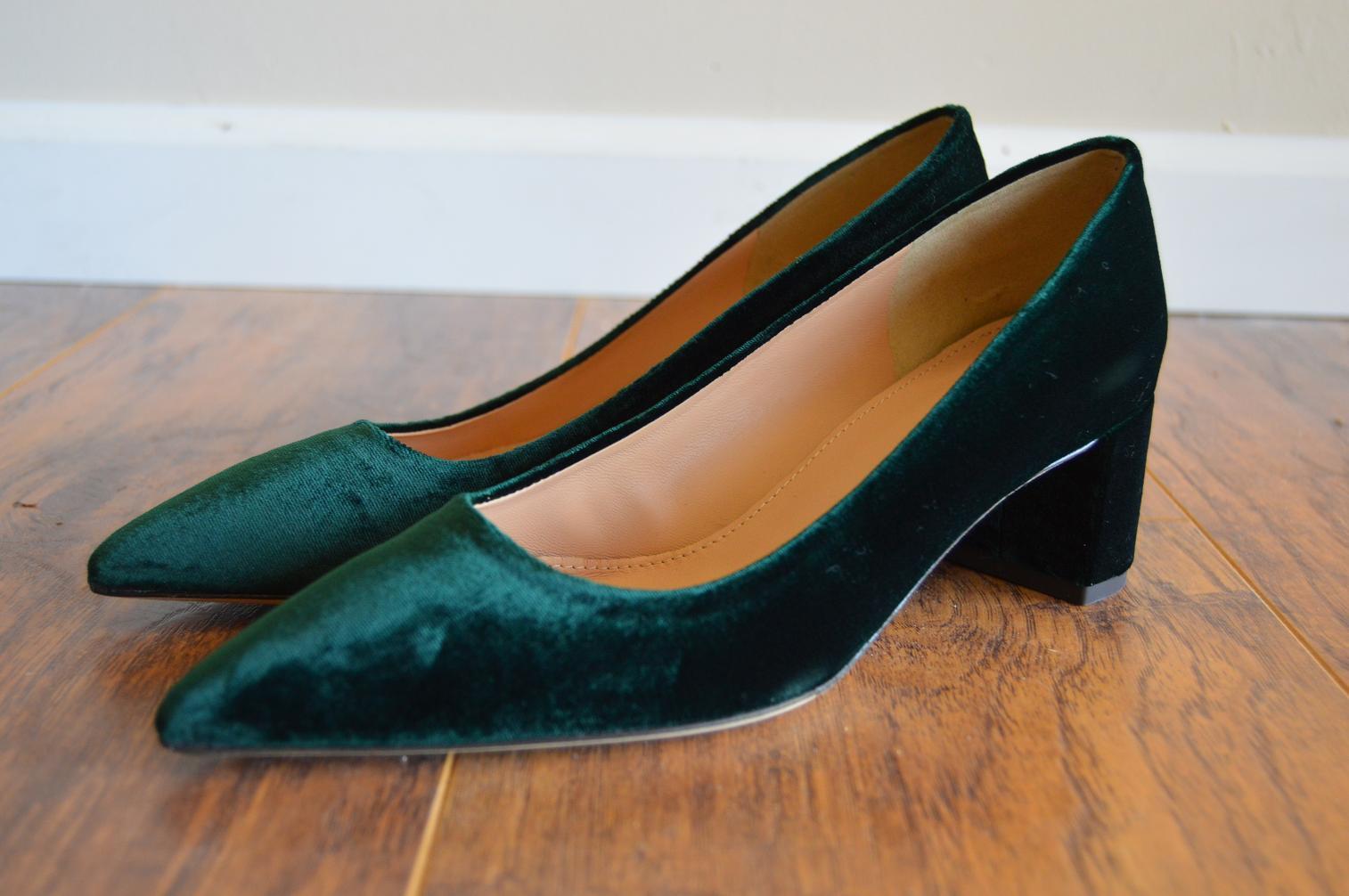 Details about J CREW AVERY Velvet Pumps Dark Forest Green Block Heels F5215 6.5 7 7.5 9 9.5